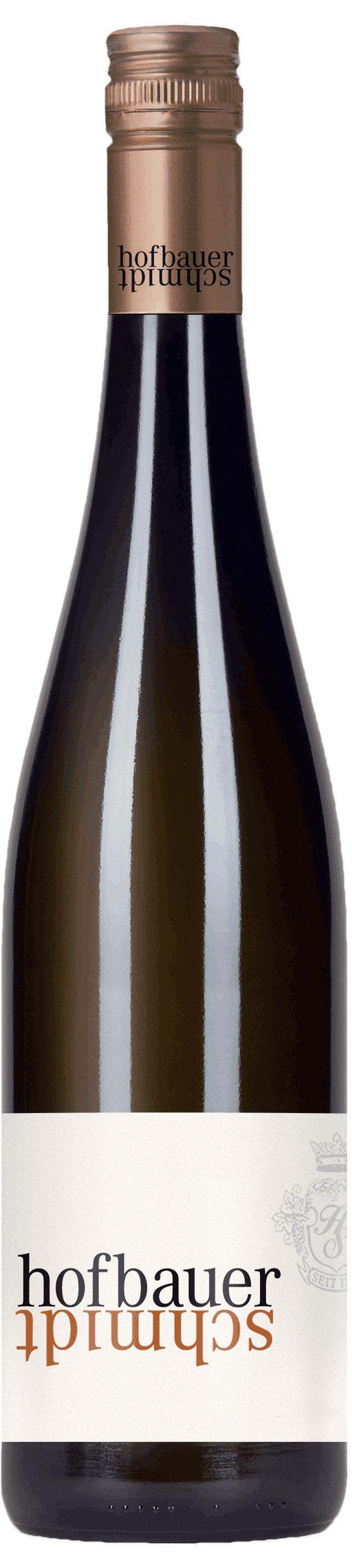 Dunkle Weinflasche mit Hofbauer-Schmidt Etikette