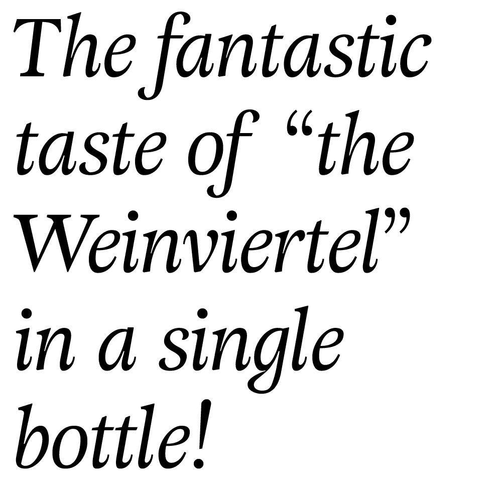 "Text in a curvy font: The fantastic taste of ""the Weinviertel"" in a single bottle"