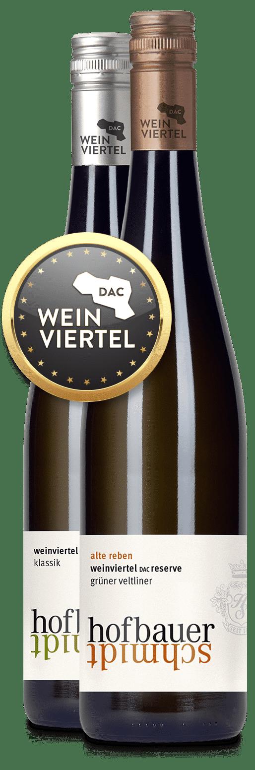 Weinflaschen mit Weinviertel DAC Siegel