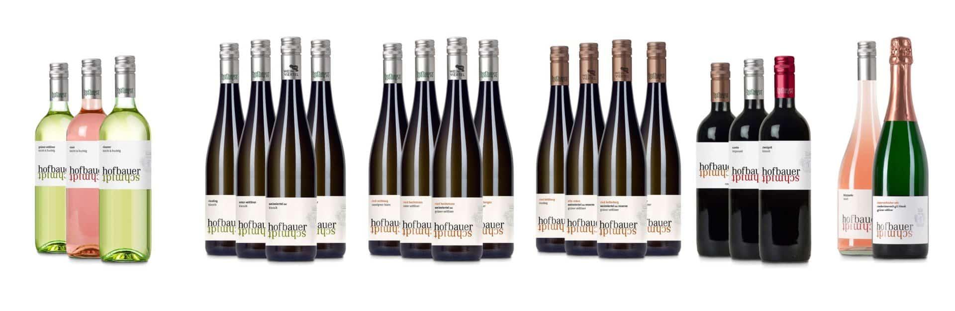 Verschiedene Weinflaschen in Gruppen